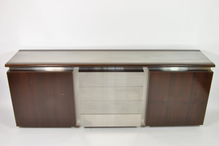 Buffet, design Ludovico Acerbis and Giotto Stoppino for Acerbis International, Italy, 1960. Veneered wood, steel and glass shelves.