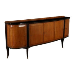 Buffet Designed for Dassi Brass Wood Vintage, Italy, 1950s