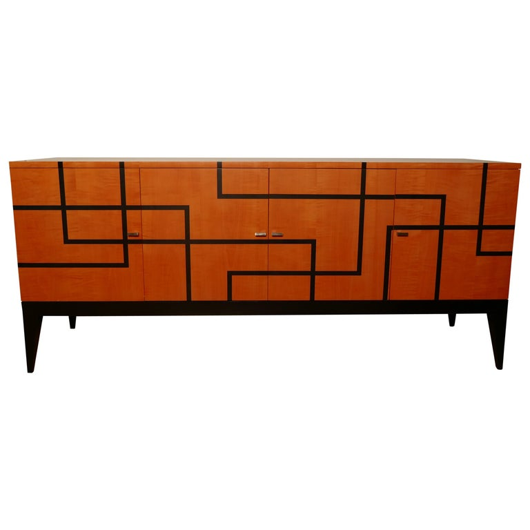 """Buffet """"Filets"""" in Hermes Orange and Black Sycamore Marquetery by Aymeric Lefort For Sale"""