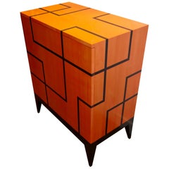 "Buffet ""Filets"" in Hermes Orange and Black Sycamore Marquetry by Aymeric Lefort"