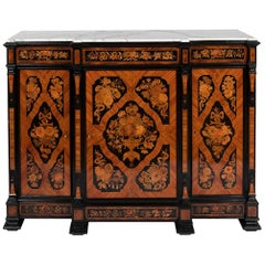 Buffet in Flower Marquetry and Marble Top, circa 1900
