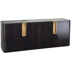Buffet in Polished Ebony Top Calacatta Marble Led Lighting Opening Sensor