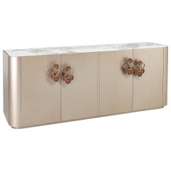 Buffet Matt Ash Grey Finish Top Calacatta Gold Matt Laquer Interiors Pulls Champ