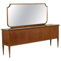 Buffet Mirror Paolo Buffa Style Wood Veneer Vintage, Italy, 1950s