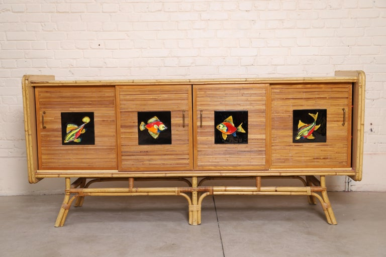 European Buffet Row Rattan by Adrien Audoux and Frida Minet For Sale