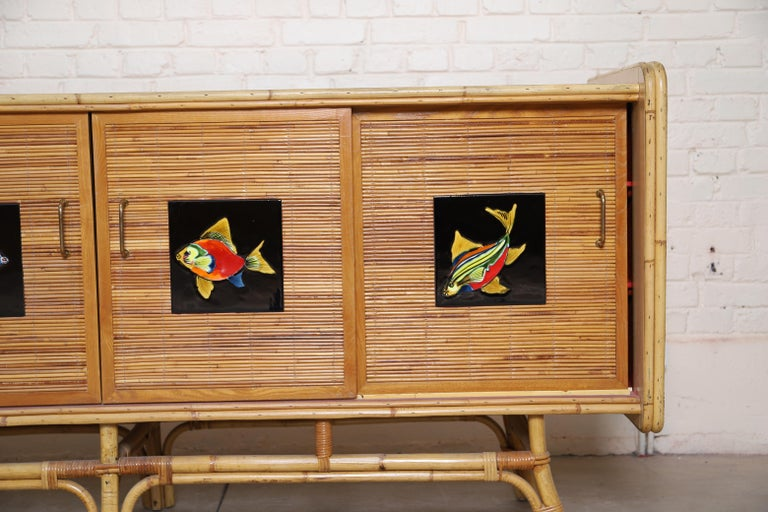 20th Century Buffet Row Rattan by Adrien Audoux and Frida Minet For Sale