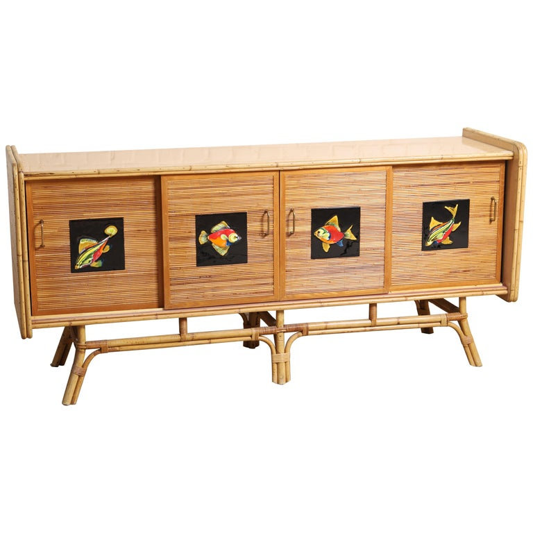 Buffet Row Rattan by Adrien Audoux and Frida Minet For Sale