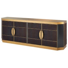 Buffet Structure Antique Bronze Finish Side upholstery with Leather Led Opening