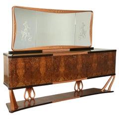 Buffet with Mirror Wood Burl Veneer Vintage, Italy, 1940s