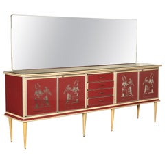 Buffet, Wood Aluminu and Mirror, Italy 1950s-1960s U. Mascagni