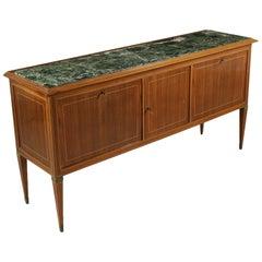 Buffet Wood Veneer Marble Brass Vintage Italy, 1950s