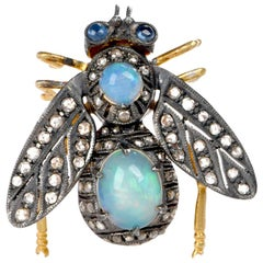 Bug Opal Diamond Silver Vermeil Gold Pin Brooch
