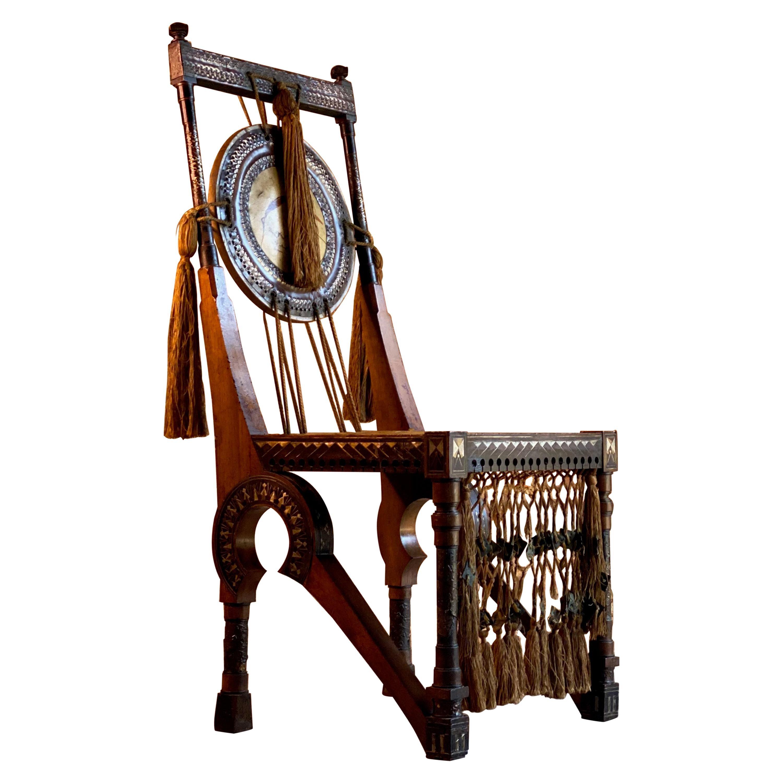 Bugatti Chair Carlo Bugatti Walnut and Copper Side Chair Italian Signed, 1900