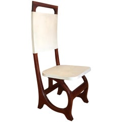 Parchment and Wood Accent Chair After Carlo Bugatti