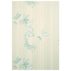 'Bugs & Butterflies' Contemporary, Traditional Wallpaper in Ice Blue