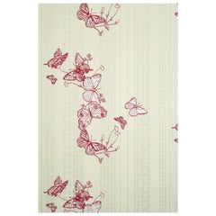 'Bugs & Butterflies' Contemporary, Traditional Wallpaper in Raspberry