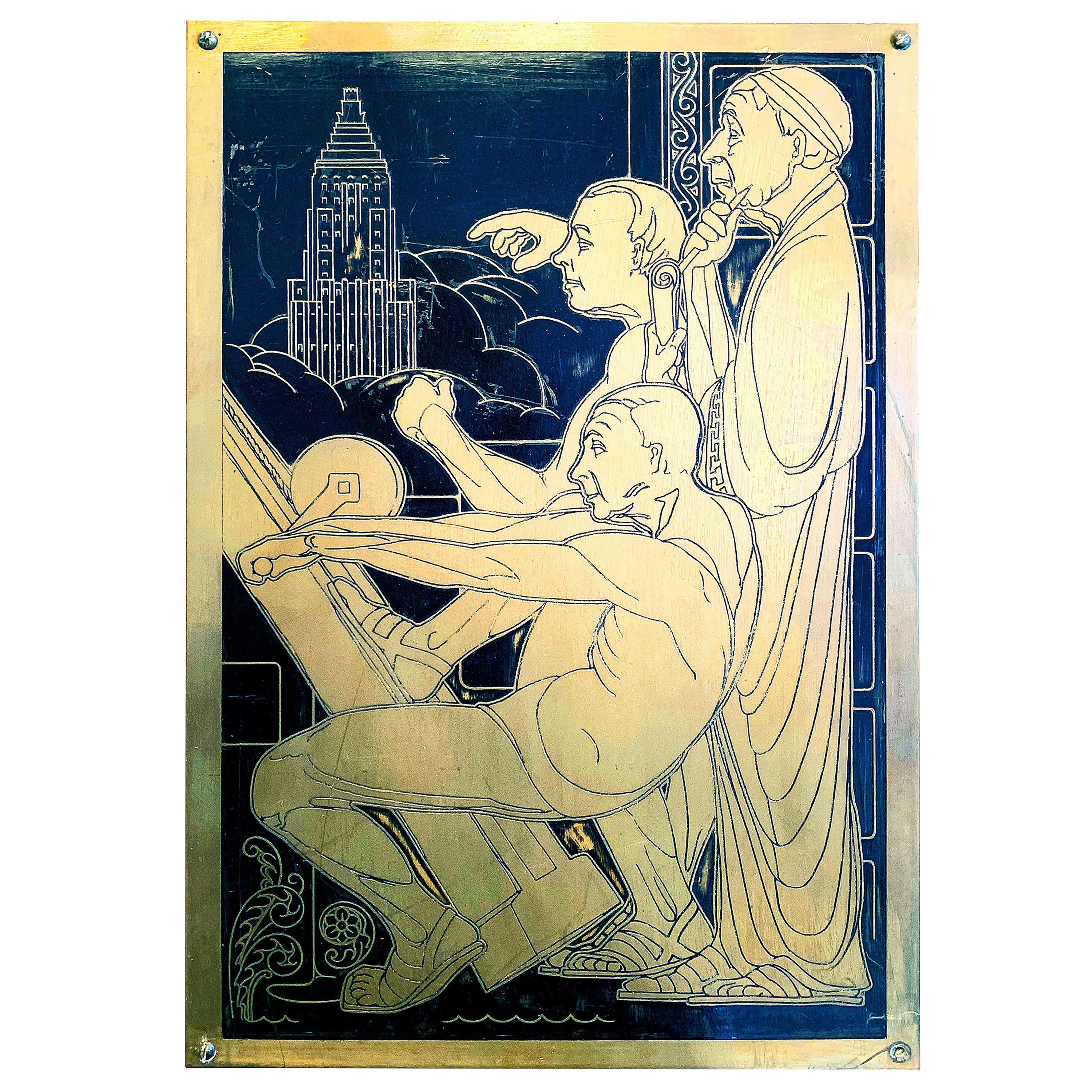 """""""Building a Monument,"""" Art Deco Elevator Panel Contrasting Medieval and Modern"""