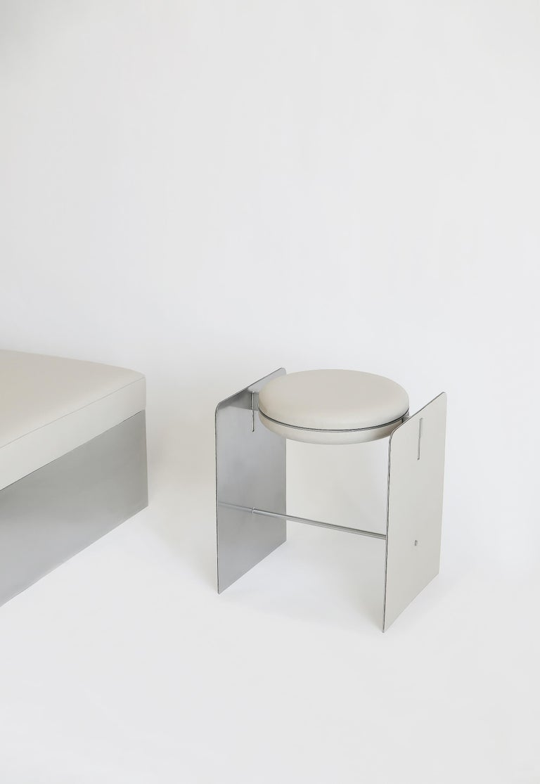 Modern Building Blocks, Geometric Double Duty Upholstered Metal Side Table or Stool For Sale