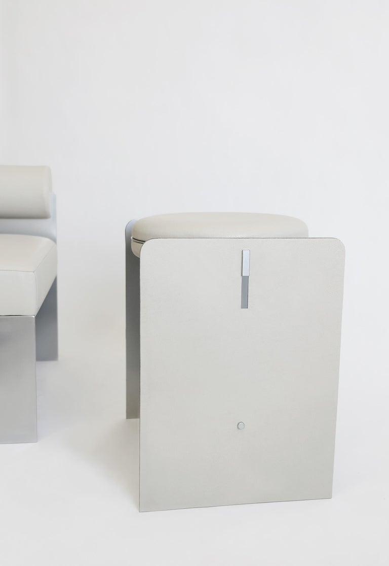American Building Blocks, Geometric Double Duty Upholstered Metal Side Table or Stool For Sale