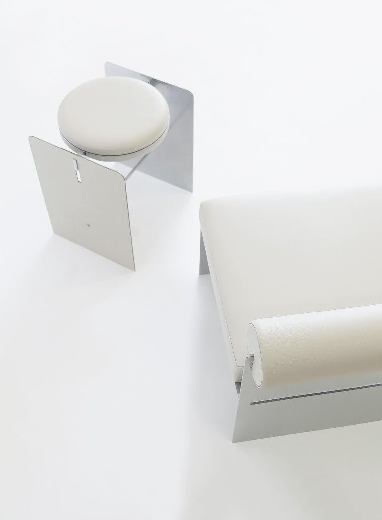 Building Blocks, Geometric Double Duty Upholstered Metal Side Table or Stool In New Condition For Sale In Los Angeles, CA