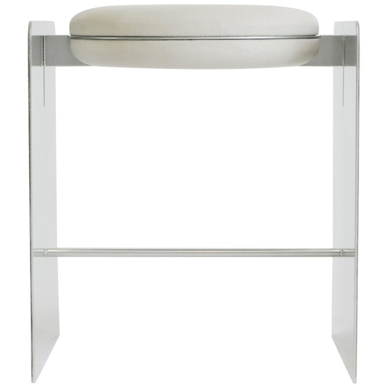 Building Blocks, Geometric Double Duty Upholstered Metal Side Table or Stool For Sale