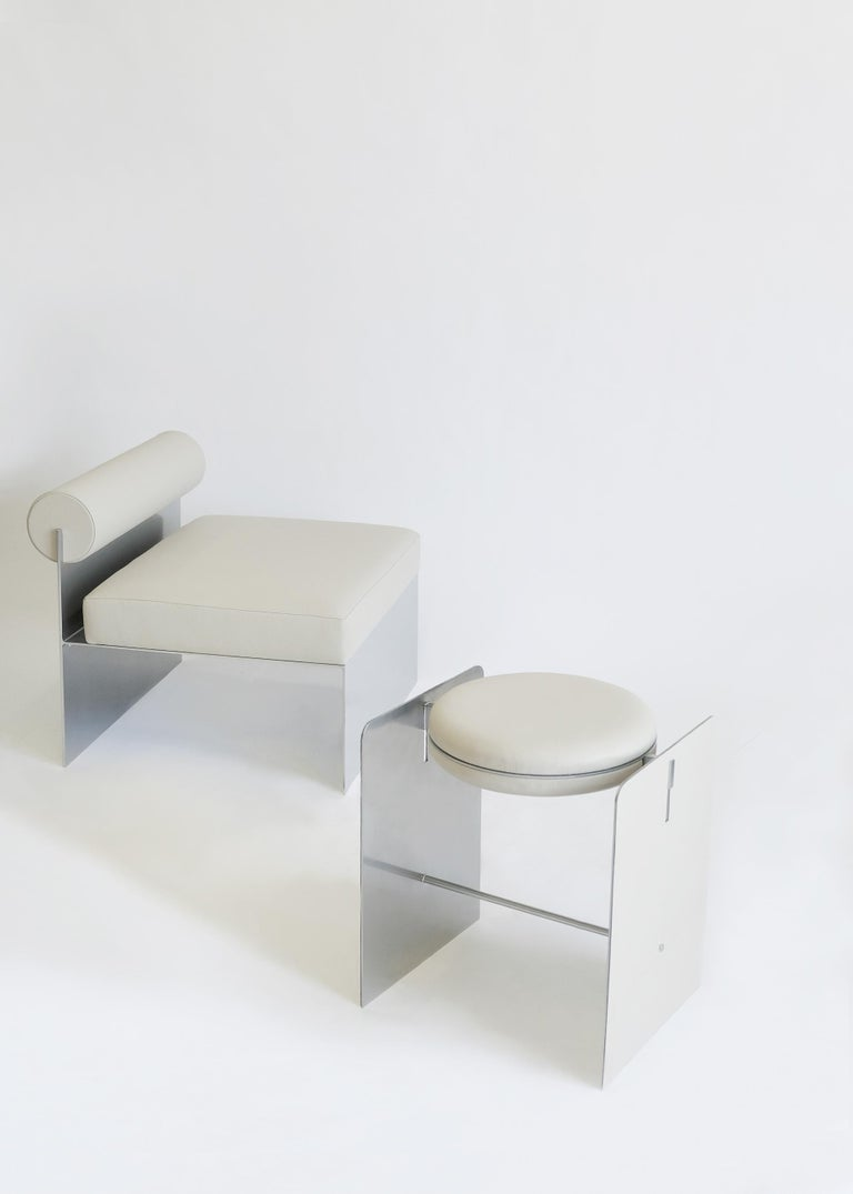American Building Blocks, Modern Geometric Side Chair with White Leather and Metal Base For Sale