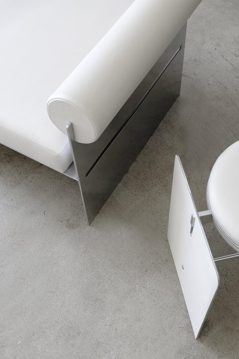 Building Blocks, Modern Geometric Side Chair with White Leather and Metal Base For Sale 1