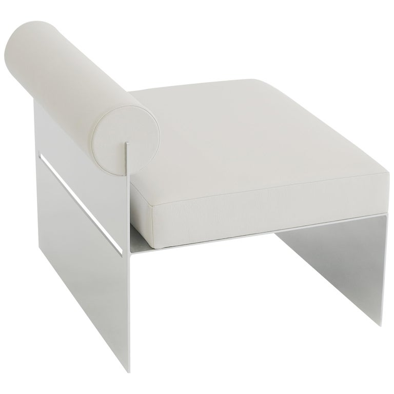Building Blocks, Modern Geometric Side Chair with White Leather and Metal Base For Sale