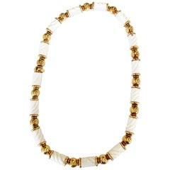 Bulargi Carved White Porcelain Necklace in 18 Karat Yellow Gold