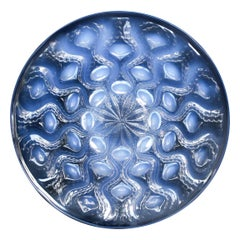 """René Lalique """"Bulbes"""" Frosted Glass Plate Circa 1930 Blue Milky Opalescence"""