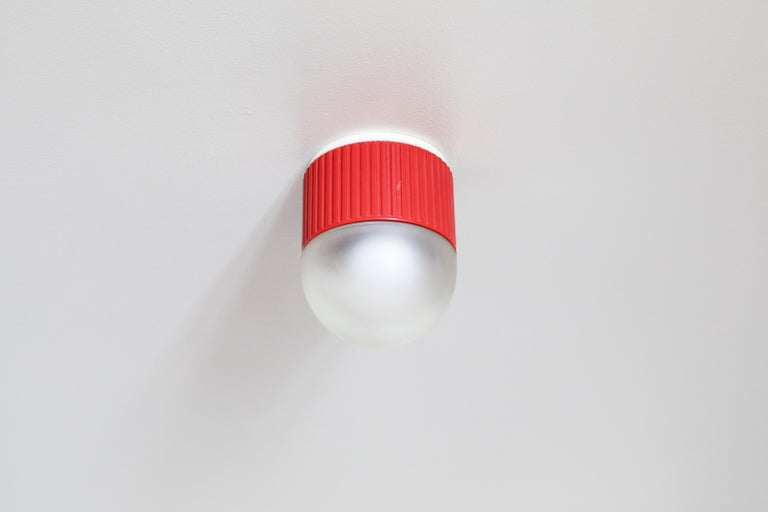 Italian Bulbo Sconce and Flush Mount in Red by Barbieri & Marianelli for Tronconi For Sale