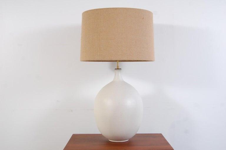 Mid-Century Modern Bulbous Form Design Technics Pottery Lamp For Sale