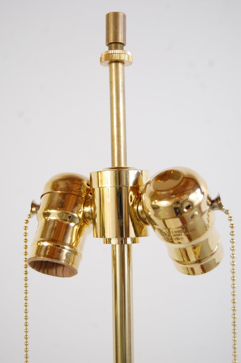 American Bulbous Form Design Technics Pottery Lamp For Sale
