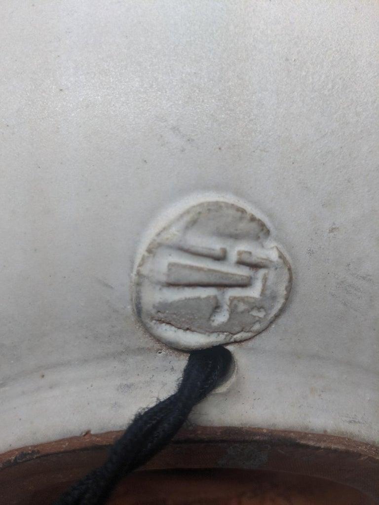 Brass Bulbous Form Design Technics Pottery Lamp For Sale