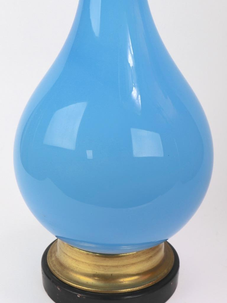 American  Bulbous Opaline Blue Glass Table Lamp For Sale