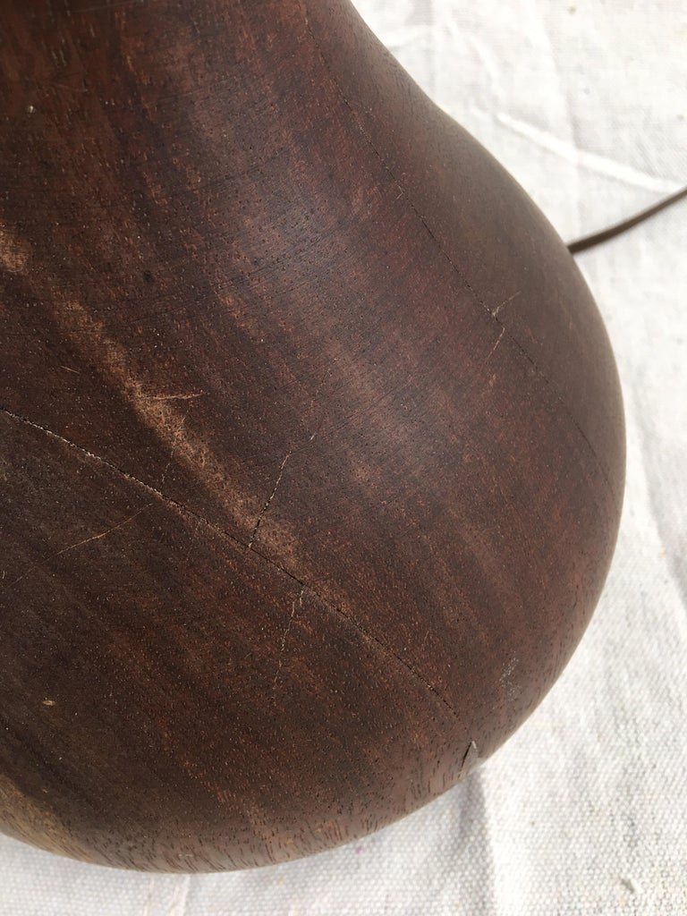 Bulbous Teak Table Lamp In Good Condition For Sale In Philadelphia, PA