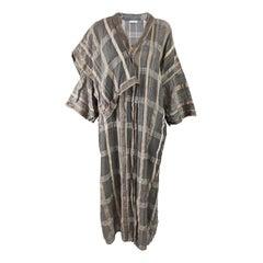 Bulgara Italian Vintage Avant Garde Checked Plaid Linen Duster Kimono Coat