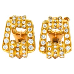 Bulgari Diamond 18 Karat Gold Link Ear-Clip Earrings
