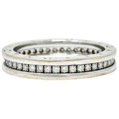 Bulgari 1.20 Carat Diamond 18 Karat White Gold Men's Unisex Eternity Band Ring