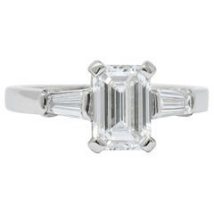 Bulgari 1.48 Carat Emerald Cut Diamond Platinum Engagement Ring GIA