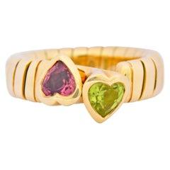 Bulgari 1.50 Carat Pink Tourmaline Peridot 18 Karat Yellow Gold Heart Ring
