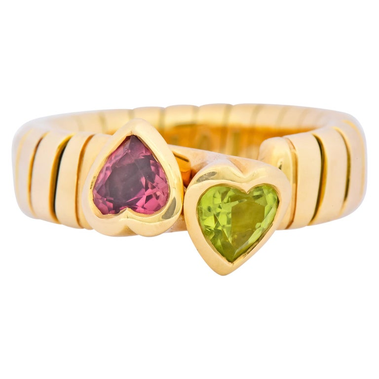 Bulgari 1.50 Carat Pink Tourmaline Peridot 18 Karat Yellow Gold Heart Ring For Sale