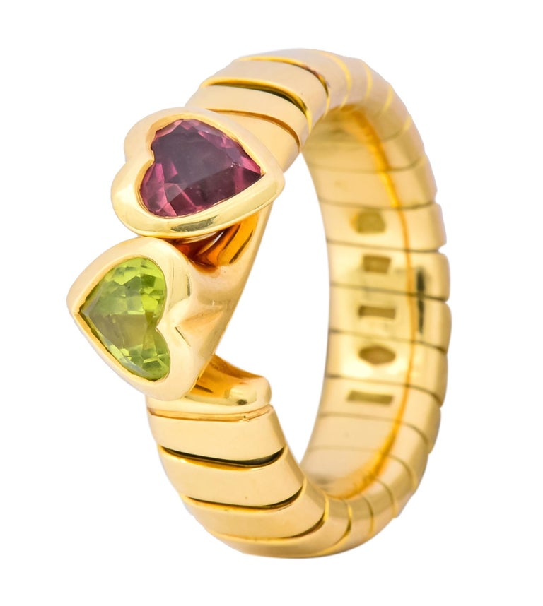 Bulgari 1.50 Carat Pink Tourmaline Peridot 18 Karat Yellow Gold Heart Ring For Sale 4