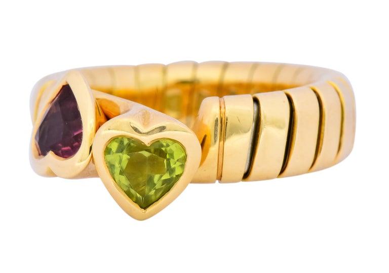 Bulgari 1.50 Carat Pink Tourmaline Peridot 18 Karat Yellow Gold Heart Ring For Sale 1