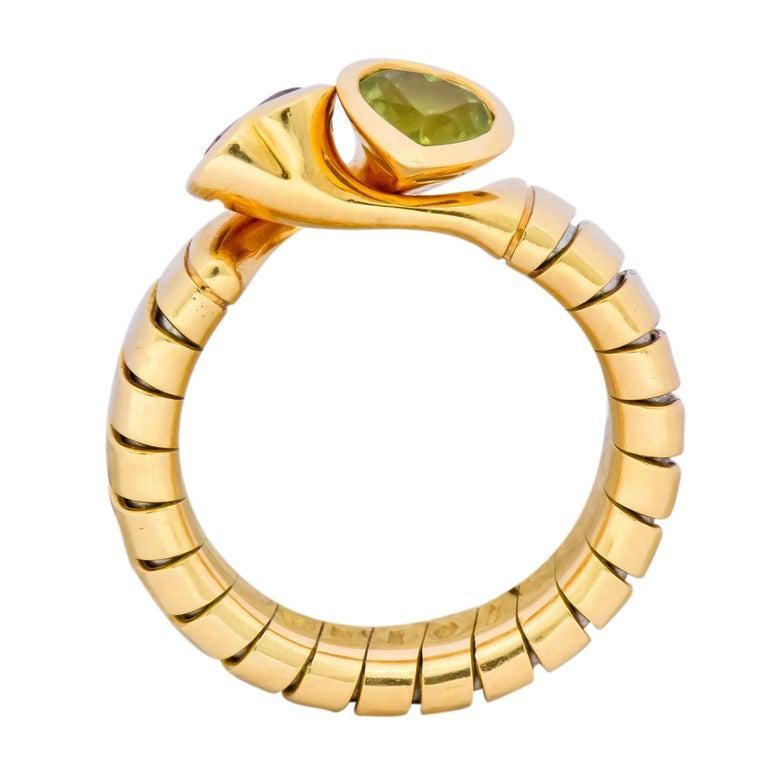 Bulgari 1.50 Carat Pink Tourmaline Peridot 18 Karat Yellow Gold Heart Ring For Sale 2