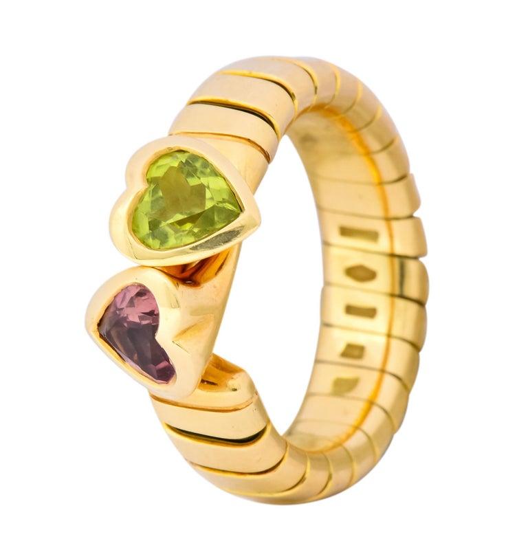 Bulgari 1.50 Carat Pink Tourmaline Peridot 18 Karat Yellow Gold Heart Ring For Sale 3