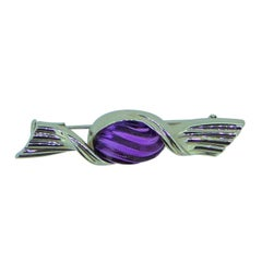 Bulgari 18 Carat White Gold and Amethyst Sweet Wrapper Brooch