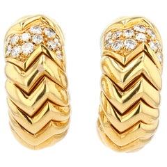 Bulgari 18 Karat Gold and Diamond Spiga Clip Earrings