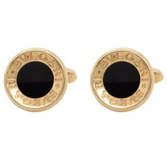 Bulgari 18 Karat Gold and Onyx Cufflinks