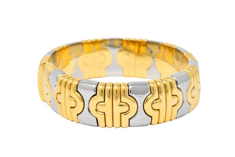 Modernist Bulgari 18 Karat Gold Stainless Steel Parentesi Bangle Bracelet